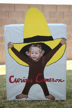 Cute Curious George party ideas! Great idea for any party: make a photo booth out of a cardboard box, cover with craft paper & paint character.  Let all the guests take their picture & send them with the thank you cards :)