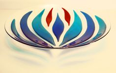 Blue and Turquoise 40cm fused glass bowl by ConnemaraBlue.deviantart.com on…