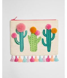 Linen-Blend Cactus Pom Pouch Women's Multi