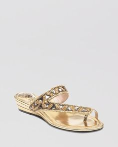 VINCE CAMUTO Demi Wedge Sandals - Indio PRICE: $98.00_Wow metallic touches and luxe beading set this pair of VINCE CAMUTO sandals into Cleopatra territory.