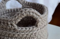 """Crochet in Color: Chunky Crocheted Basket Pattern"" -FREE pattern, similar to the (not free) basket kit from Frosta... (@Julie Forrest Jackson! :)"