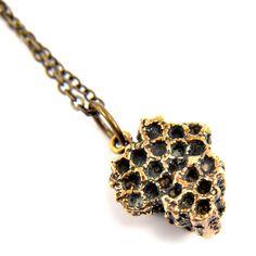 Honey Bee Comb Bronze Necklace - Bee