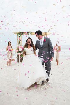 Stylish, chic, and colorful, these yellow and pink beach wedding ideas designed by Flaire Weddings are sure to brighten to your day! Wedding Exits, Chic Wedding, Summer Wedding, Dream Wedding, Wedding Ideas, Rainbow Wedding, Wedding Confetti, Coastal Wedding Inspiration, Bridal Dresses