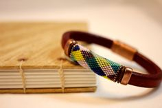 Regaliz leather bracelet with peyote beaded band, multi-colored diamonds, lightweight, handmade, everyday, colorful, unique - no. 2035 on Etsy, $40.00