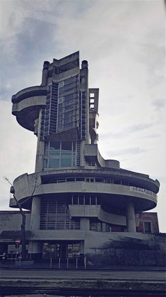 """The abandoned brutalist Casa Del Portuale, a building for """"Social Services for Workers in the Port of Naples"""" by architect Aldo Loris Rossi, Naples"""