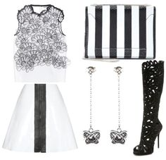 Black and white clothing style set for casual lunch outing with friends