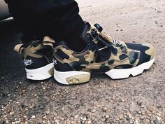 Reebok Pump Fury is a fantastic sneaker! I love the shape. This one is a collab with Bape.