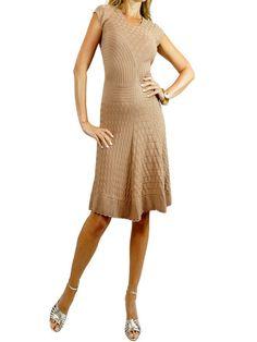 SANDRO Beige Knit V-Neck Dress. 2 $275 http://www.boutiqueon57.com/products/sandro-beige-knit-v-neck-dress-2