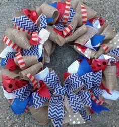 Red White & Blue Burlap Chevron Wreath. Love this for MANY occasions. Especially a KU wreath!