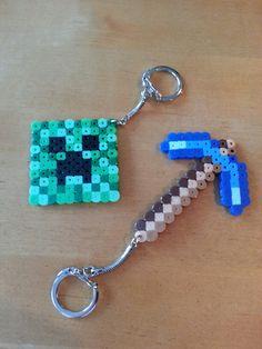 Minecraft perler bead keychains I made for Dakota's 7th birthday party