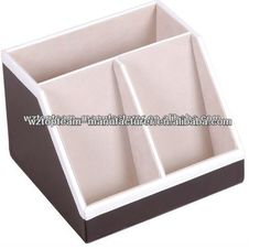 #Desk Organizer, #Remote Control Holder, #faux leather and wooden
