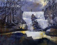 Chewacla at Night No.1 by Iain Stewart Watercolor ~ 8 x 10