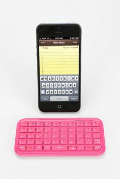 desktop details, office, work, phone, phone accessories, tech, tech accessories, phone keyboard, mini bluetooth keyboard, pink