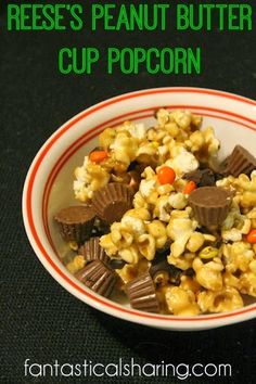 Reese's Peanut Butter Popcorn | A rich, decadent popcorn treat with ...