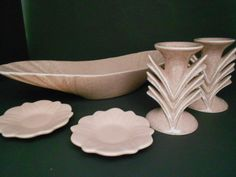 Red Wing pottery - 5 pieces - boat dish is 16 in. long x 5 in. wide x 2-1/2 in. high.
