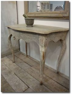 Distressed Console Table- Keywords:Gustavian, Gustavian Furniture, Distressed Furniture, Country French Furniture, Shabby Chic Furniture, Scandinavian Design, Nordic Style, Swedish Furniture, Swedish Decorating,
