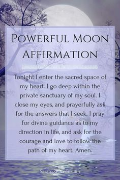 a wonderful affirmation to use during a new moon. The new moon energy is very supportive of new beginnings and starting fresh. It brings a powerful spiritual energy for change. You can use this affirmation to help you tap into this energy. Full Moon Spells, Full Moon Ritual, New Moon Rituals, Moon Magic, Lunar Magic, Mantra, Book Of Shadows, Witchcraft, Wiccan Spells
