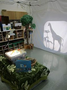 Shadows with old projector. OMG I want to do this, but I feel this would be destroyed in seconds with my soon to be two year olds. Play Based Learning, Learning Through Play, Learning Spaces, Learning Environments, Early Learning, Reggio Classroom, Preschool Classroom, Reggio Emilia Approach, Instruction En Famille