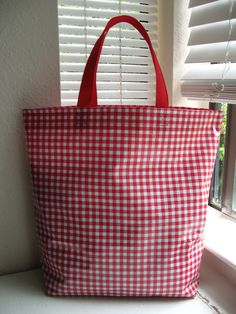 Oilcloth Market Bag  Red Gingham by bluetulip on Etsy, $23.00