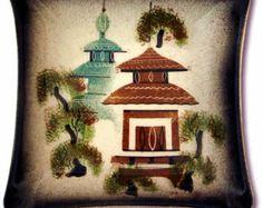 Vintage Mid-Century Sasha Brastoff Burmese Pagodas Dish