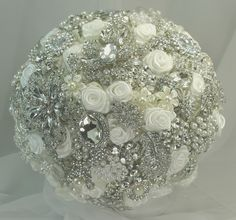 White & silver brooch bouquet   balance of roses and brooches