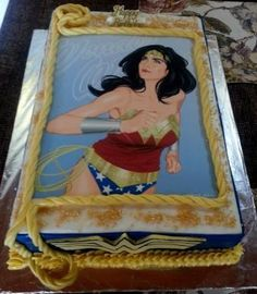 Wonder woman themed birthday cake with edible print and fondant rope