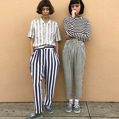 Stripe mix | Shirt tops and trousers | Match mismatch | Pair twins | Bob hair | Casual spring style fashion