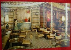 Vintage postcard: La Tunisia Restaurant, Sheik's Tent, Harem Girls, Exchange Park, Dallas, Texas (1969) by coltera, via Flickr    (Excellent use of a wall-to-wall interior mirror)