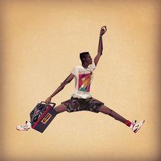 The artist NATUREL native of Washington DC imagined a graphic world mixing Jumpman23, House Martin Margiela and Picasso : http://instagram.com/naturel #MichaelJordan #AirJordan #Jumpman