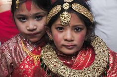 Couldn't believe the makeup that these little girls were dressed with by their moms in Nepal.