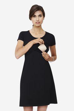 Black nursing nightgown in organic cotton