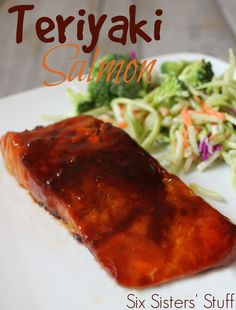 Teriyaki Salmon Recipe - healthy, easy and it tastes delicious! Sixsistersstuff.com