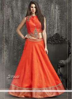 Shop online for attractive long lehenga choli designs. Buy now! This trendy orange kasab and patch border work lehenga choli. Orange Lehenga, Raw Silk Lehenga, Lehenga Choli, Saree, Choli Designs, Blouse Designs, Dress Designs, Indian Wedding Wear, Indian Wear