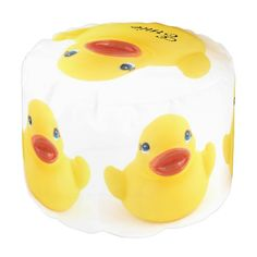 Yellow Rubber Ducks Round Pouf $140.00 Whether you had one as a child, or have one as an adult, these plastic yellow rubber duckies are sure to bring a smile to any face. Bathtime is always funtime with these squeaky toys!