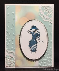 Stampin days; Beautiful You, Stampin UP!, Falling in Love DSP, Stitched Shapes Framelits Dies