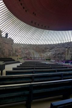 Helsinki's Temppeliauko church (Rock Church). One of the most relaxing places that you could see in Helsinki. Places To See, Places Ive Been, Visit Helsinki, Space Architecture, Scandinavian Architecture, Templer, Relaxing Places, Place Of Worship, Kirchen