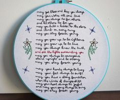embroidering forever young by bob dylan