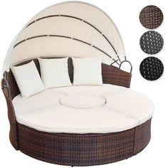 Modern Rattan Sun Day Bed Outdoor Garden Furniture Patio Lounger Sofa Canopy