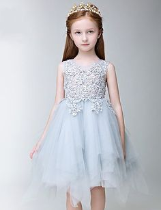 31d1bc5e2a42 A-line Knee-length Flower Girl Dress - Tulle Sleeveless Jewel with  Appliques