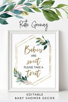 Editable rustic greenery Babies are sweet please take a treat baby shower favor table sign, dessert table sign,Rustic baby shower