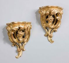 "Pair of gilt-wood Wall Brackets Ca1890 England. 10""H x 6.5""W x 5.5""D."