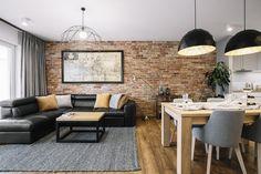 Brick Wall Living Room, Accent Walls In Living Room, Living Room Interior, Brick Interior Wall, Brick Living Room, Living Room Wall, Grey Accent Wall Living Room, Living Room Design Modern, Grey Interior Design
