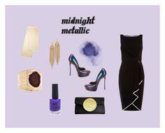 """midnight metallic"" by magrathea ❤ liked on Polyvore featuring Casadei, Dareen Hakim, Coast, New Look, Dara Ettinger, Capwell + Co, Loro Piana, gold, purple and classy"