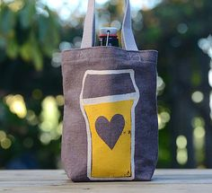 Growler Bag Screen Printed Denim Tote Beer Love by stripeycity