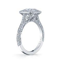 Christina is a custom Cushion cut diamond engagement ring set in Platinum - http://jeandousset.com/ #Custom #EngagementRing #cushioncut #cushiondiamond