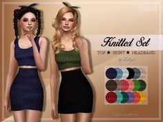 Knitted Set Top + Skirt + Headband at Trillyke via Sims 4 Updates