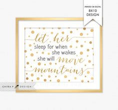 Let Her Sleep For When She Wakes She Will Move Mountains Print - Printed or Printable, Black Nursery Decor Gold Glitter Baby Girl Art - chitrap.com