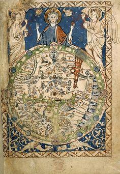 Mapamundi del Salterio de Westminster. Copia del mapa del dormitorio de Enrique III. 1265.
