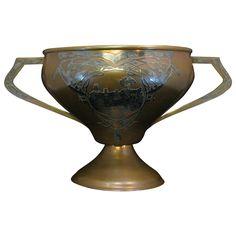 Antique Heintz Art Metal Large Trophy Cup 1914 Michigan Sterling on Bronze (Junior Corn Growers Trophy #pmKV)