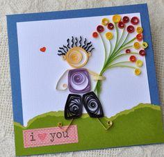 Paper Quilling Arte de San Valentín tarjeta hecha a mano Quilled Tarjeta Amigos tarjeta Quilled niño